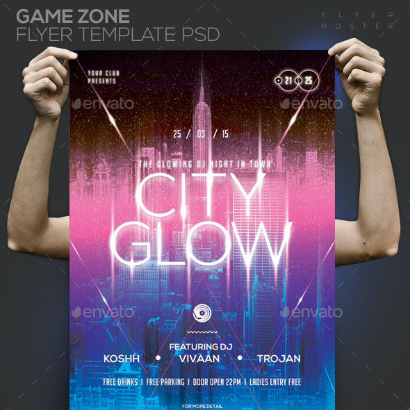 Glow City Template PSD Flyer/Poster