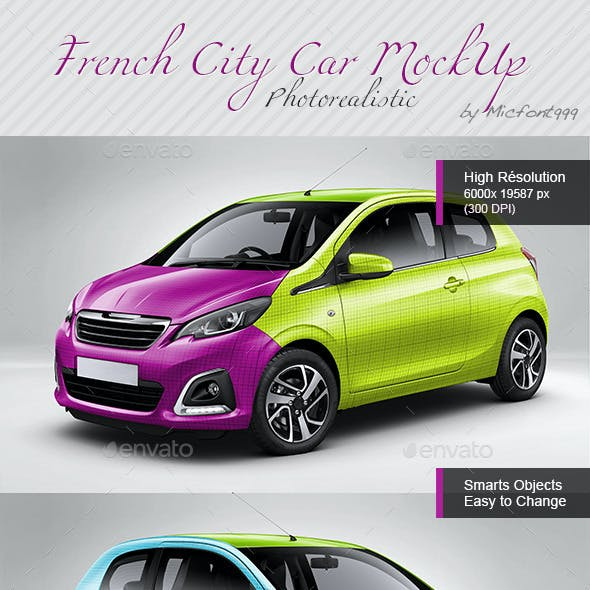 Photorealistic French City Car Mock-up