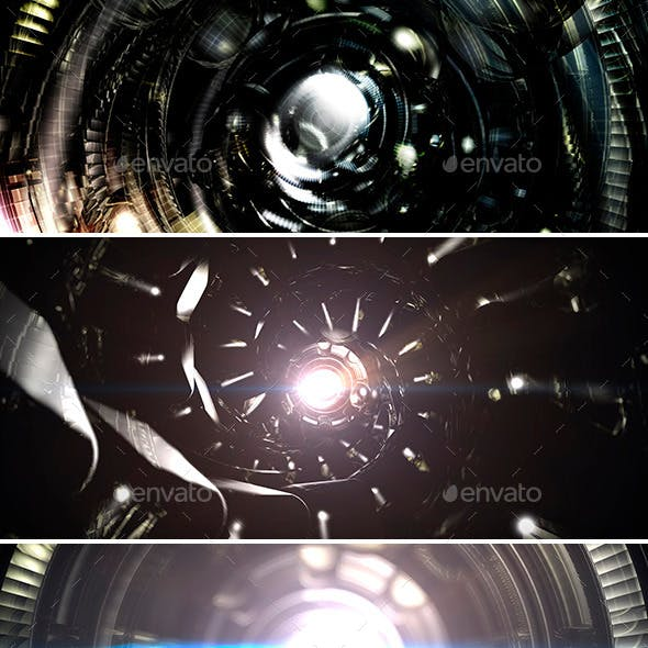 Alien Starship Tunnel Background Set