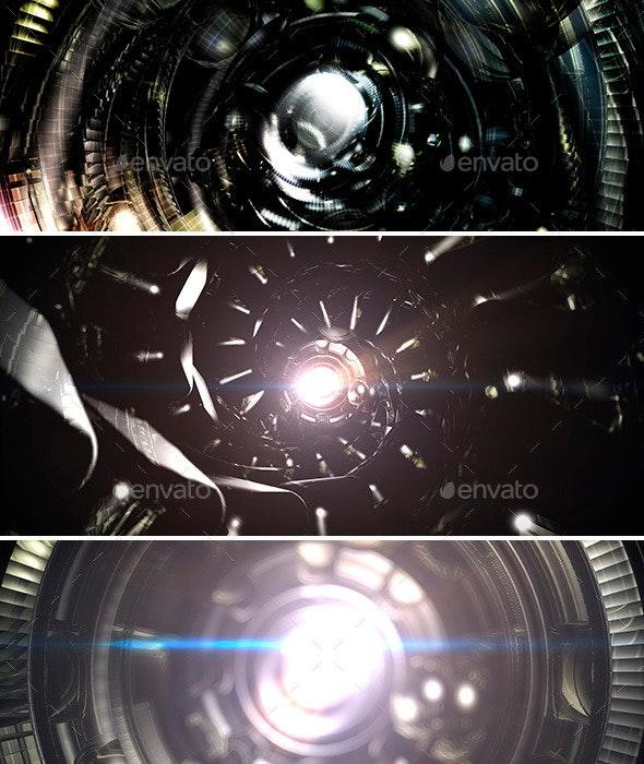 Alien Starship Tunnel Background Set - 3D Backgrounds