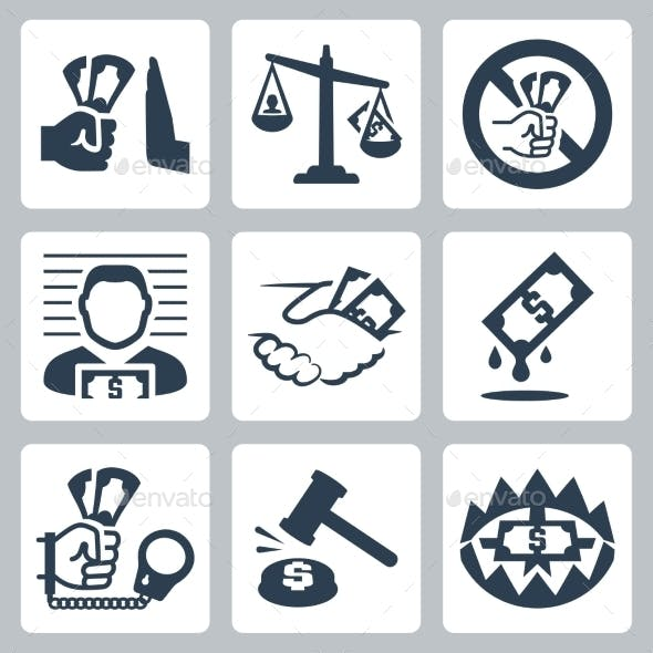 Corruption Related Icon Set