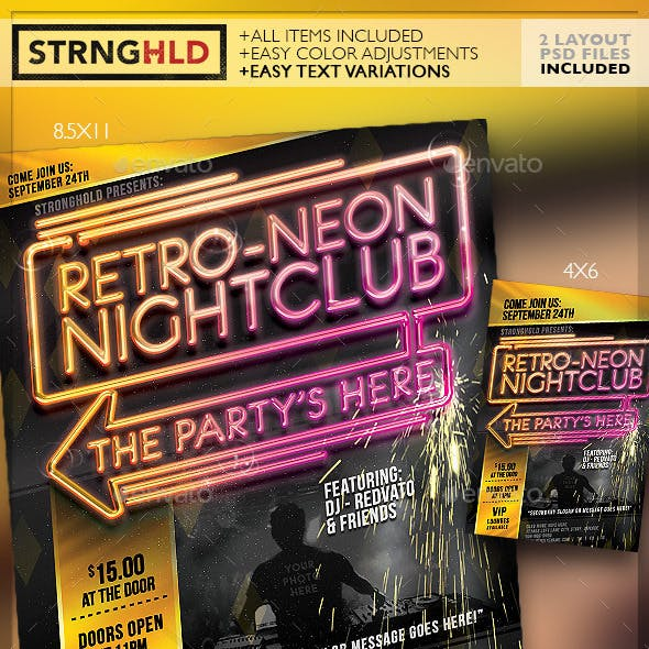 Retro Neon Party Flyer Template