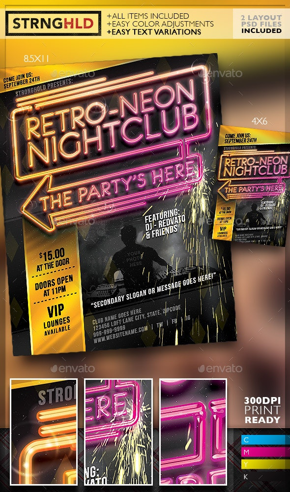 Retro Neon Party Flyer Template - Clubs & Parties Events