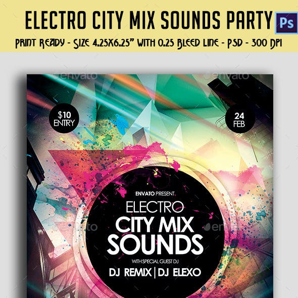 Electronic City Mix Sounds Party Flyer