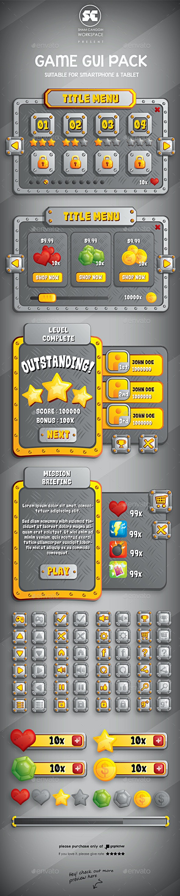 Gold Metal Game GUI - User Interfaces Game Assets