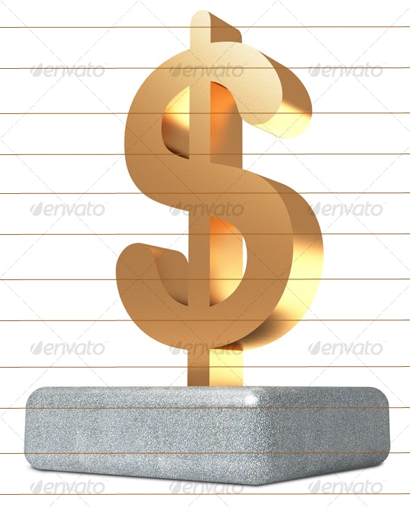 Dollar sign on concrete block - Objects 3D Renders