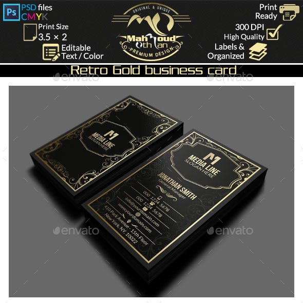 Retro Gold Business Card