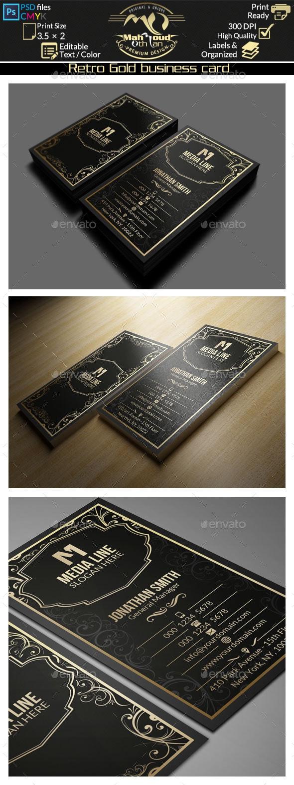 Retro Gold Business Card - Retro/Vintage Business Cards