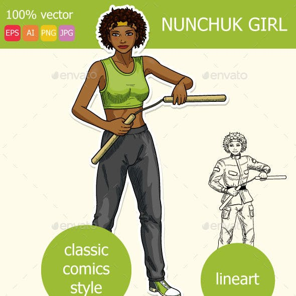 African American Girl Armed with Nunchuck