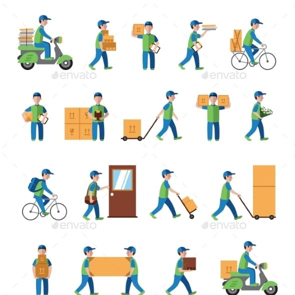 Courier, Delivery, Postman People. Flat Style Icon