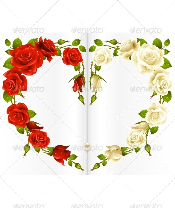 Red and white Rose frame in the shape of heart - Birthdays Seasons/Holidays