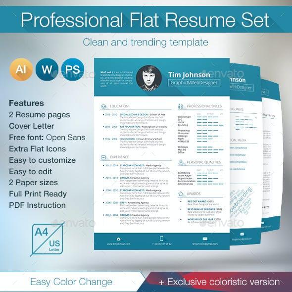 Professional Flat Resume Set