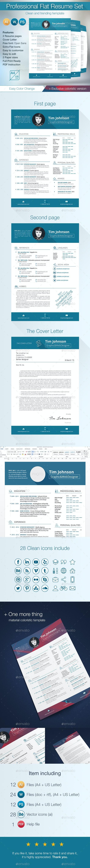 Professional Flat Resume Set - Resumes Stationery