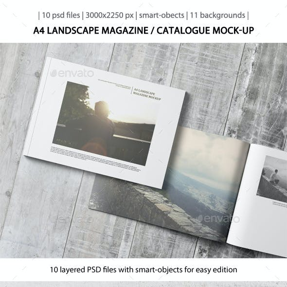 A4 Landscape Magazine / Catalogue Mock-Up