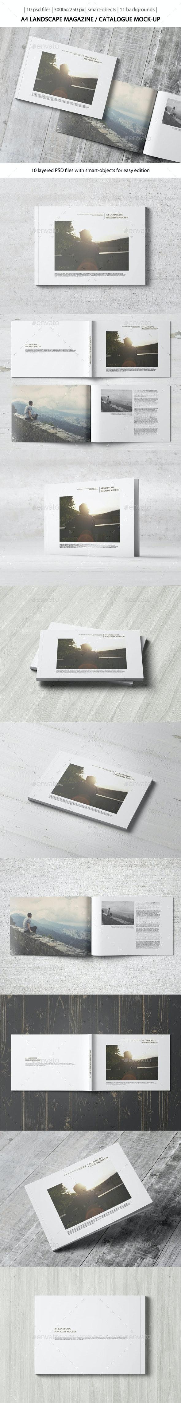 A4 Landscape Magazine / Catalogue Mock-Up - Magazines Print