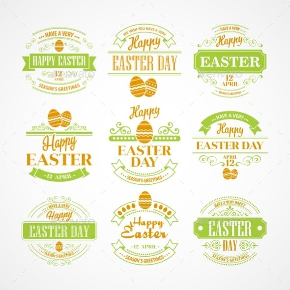 Easter Holiday Typography Set