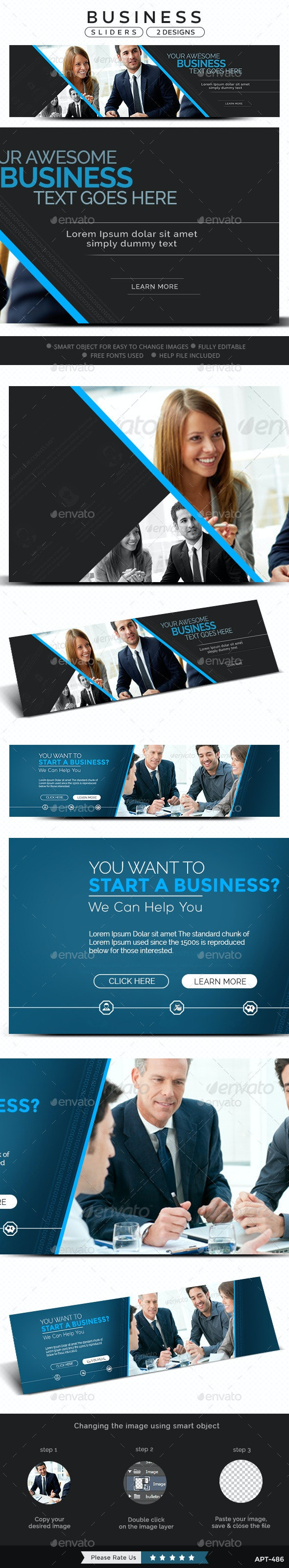 Business Sliders - 2 Designs - Sliders & Features Web Elements