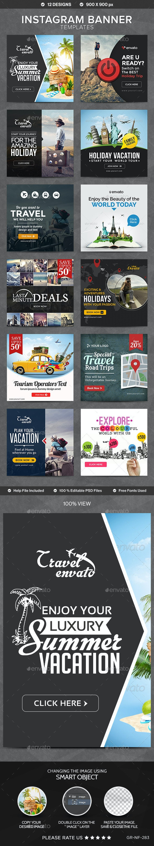 Instagram Banner Templates - 12 Designs - Banners & Ads Web Elements
