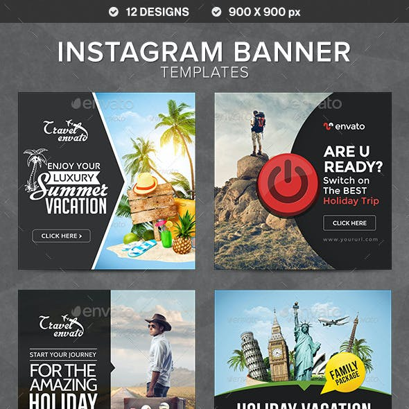 Instagram Banner Templates - 12 Designs