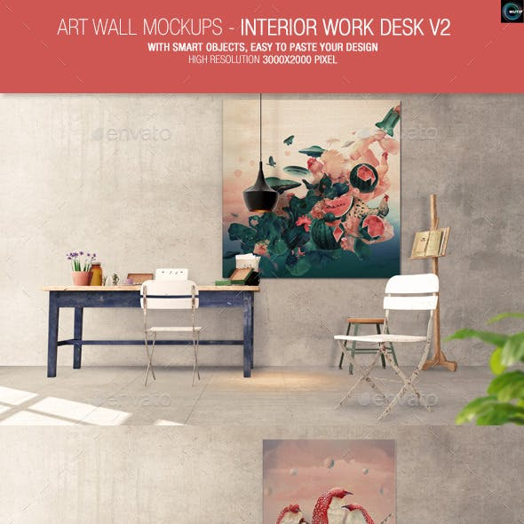 Art Wall Mockups - Interior Work Desk V2