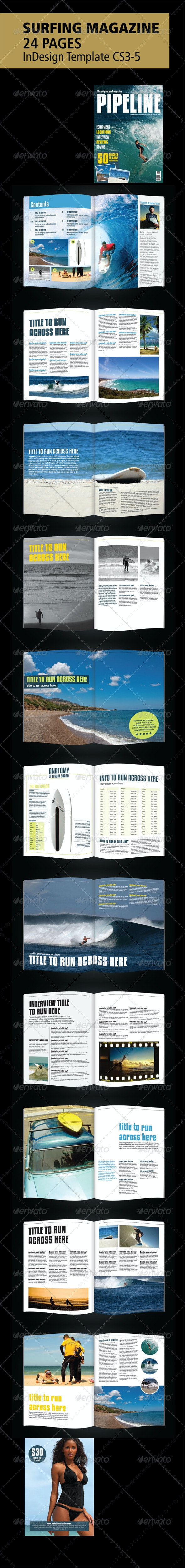 Surfing Magazine - 24 Page layout - InDesign - Magazines Print Templates