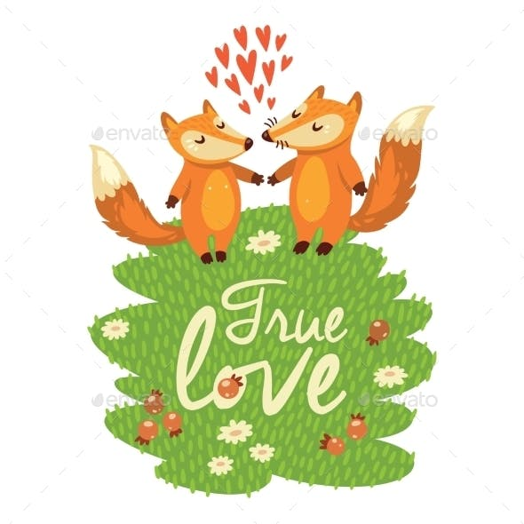 Love Card with Foxes