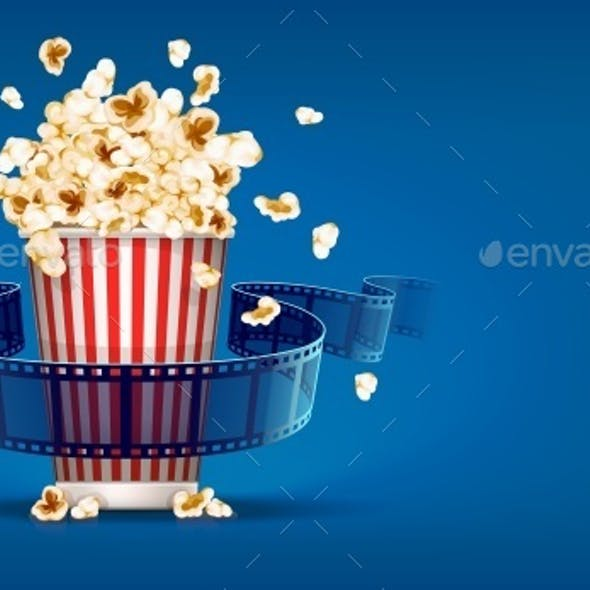 Popcorn For Cinema and Movie Film Tape on Blue