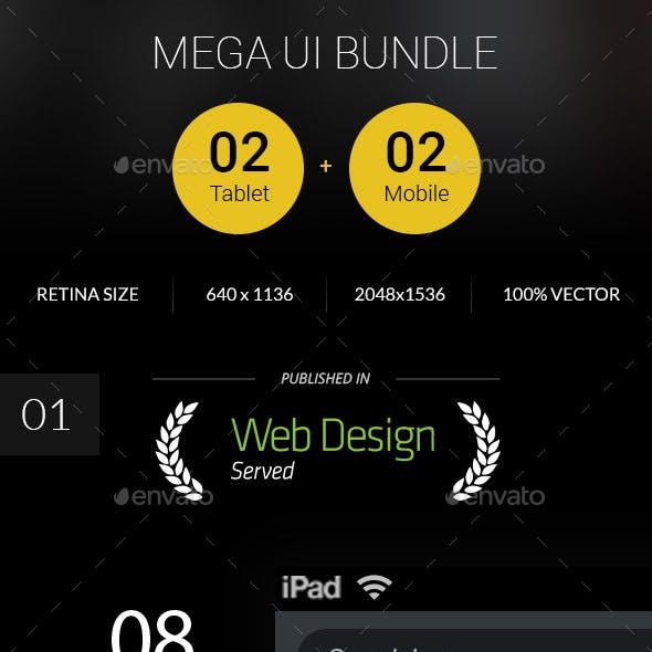 Bundle - Mega Ui - 2 Mobile & 2 Tablet Ui Set