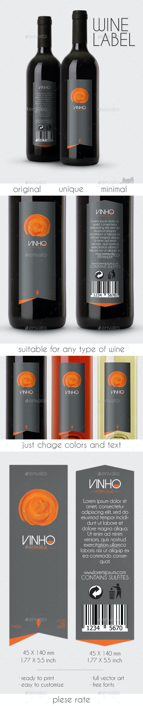 Vinho Wine Label - Packaging Print Templates