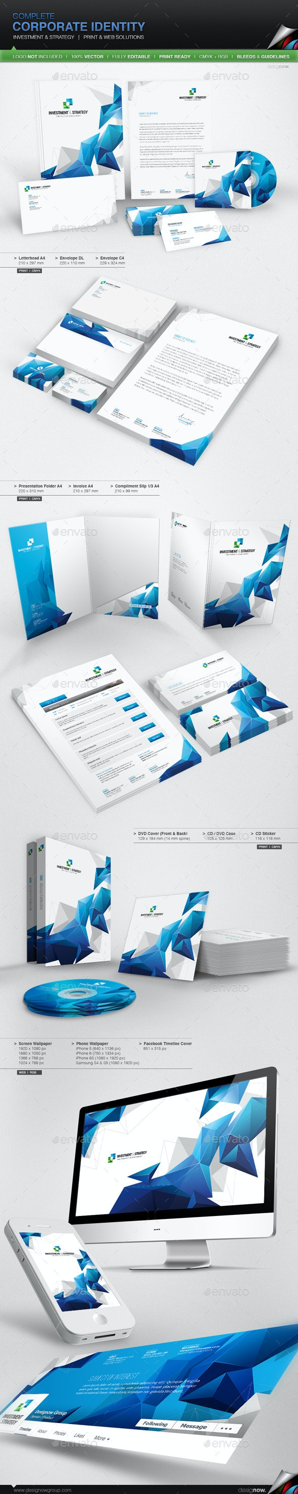 Corporate Identity - Investment And Strategy - Stationery Print Templates