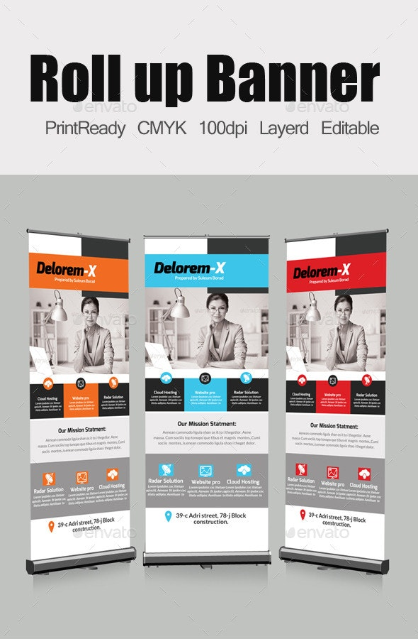 Roll Up Business Banners Template - Signage Print Templates