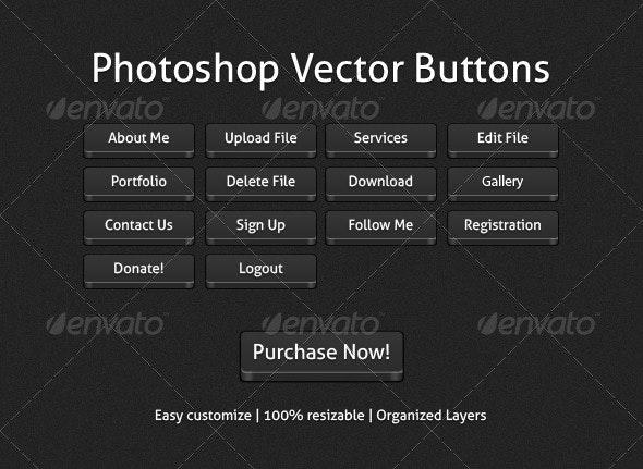 Photoshop Vector Buttons - Buttons Web Elements