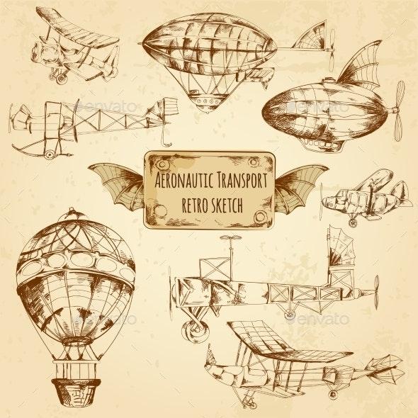 Retro Aviation Sketch - Travel Conceptual