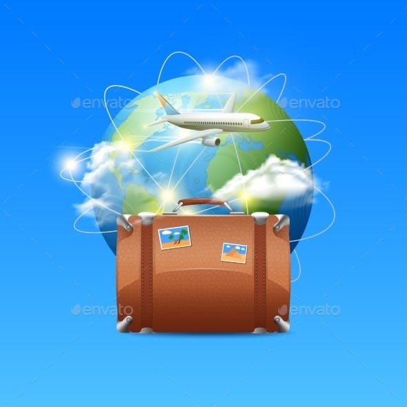 Plane with Globe and Suitcase