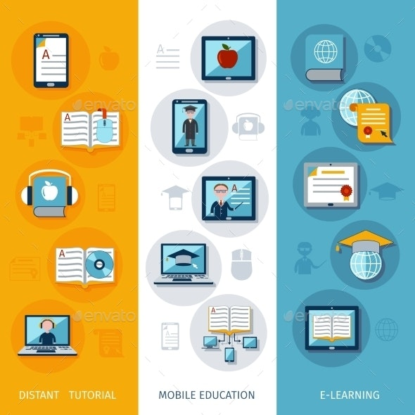 E Learning Vertical Banners By Macrovector Graphicriver