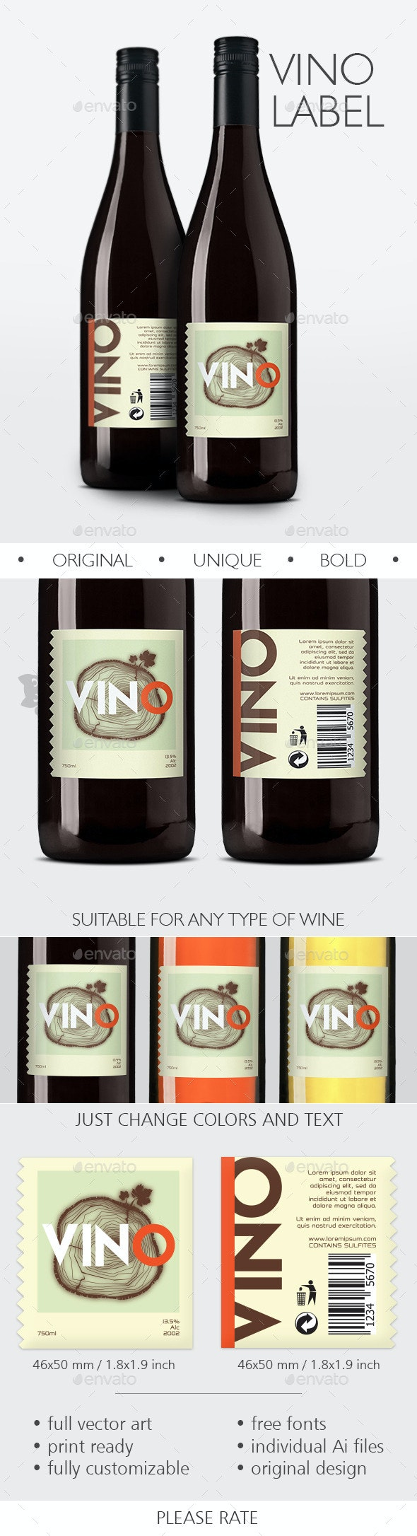 Vino Label - Packaging Print Templates