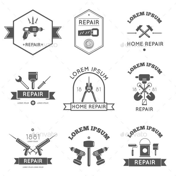 Home Repair Tools Labels Flat