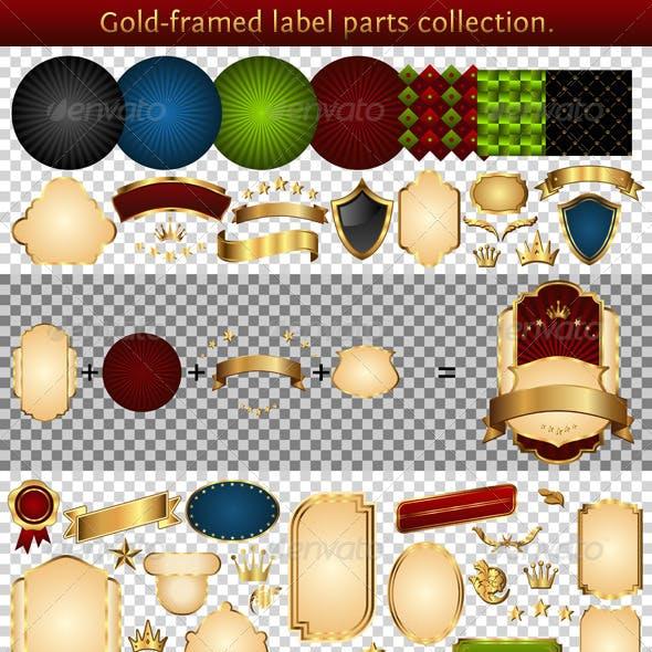 Gold-framed labels parts