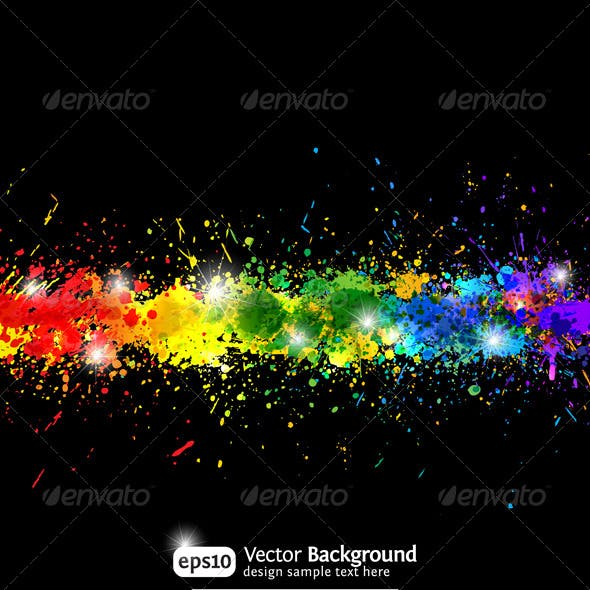 Colorful gradient paint splashes vector background