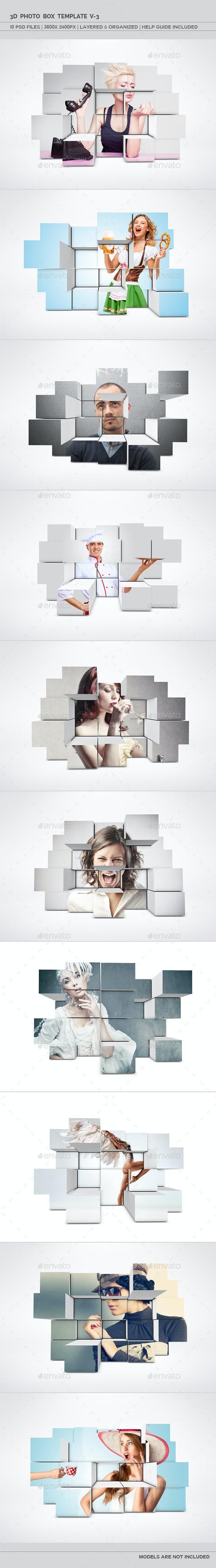 3D Photo Box Template V-3 - Miscellaneous Photo Templates