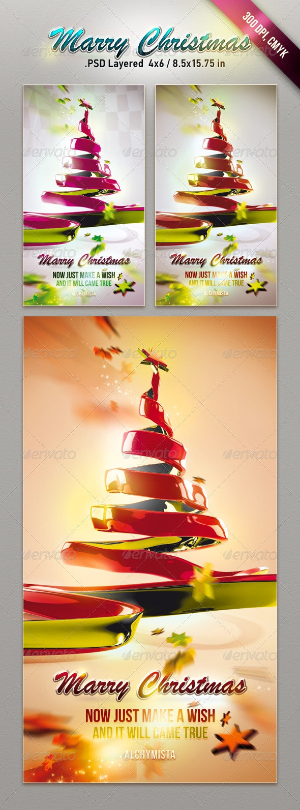 Christmas Ribbon Tree - Holiday Greeting Cards