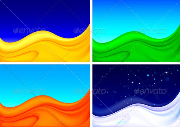 4 Seasonal vector backgrounds - Seasons/Holidays Conceptual