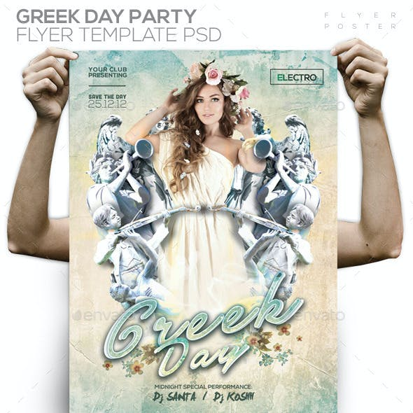 Greek Day Party PSD Flyer/Poster