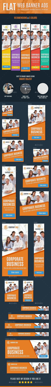 Flat Web Banner Ads - Banners & Ads Web Elements