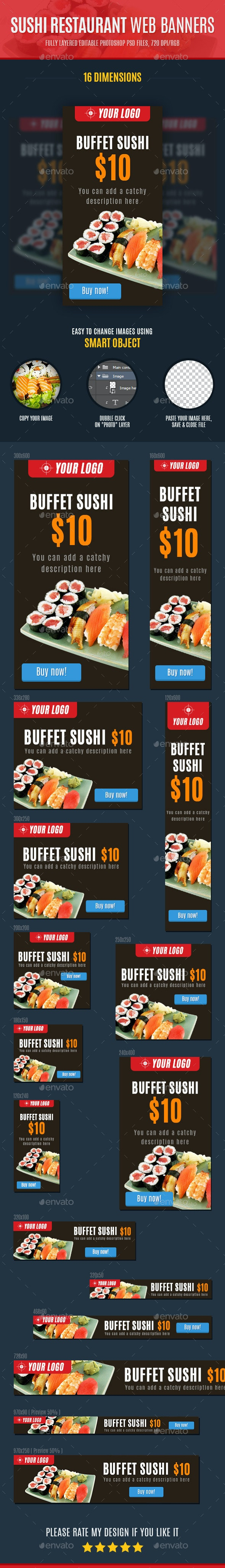 Sushi Restaurant Web Banners - Banners & Ads Web Elements