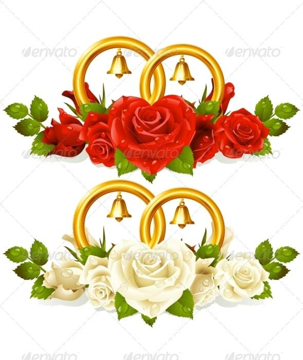 Wedding rings and bunch of roses - Weddings Seasons/Holidays