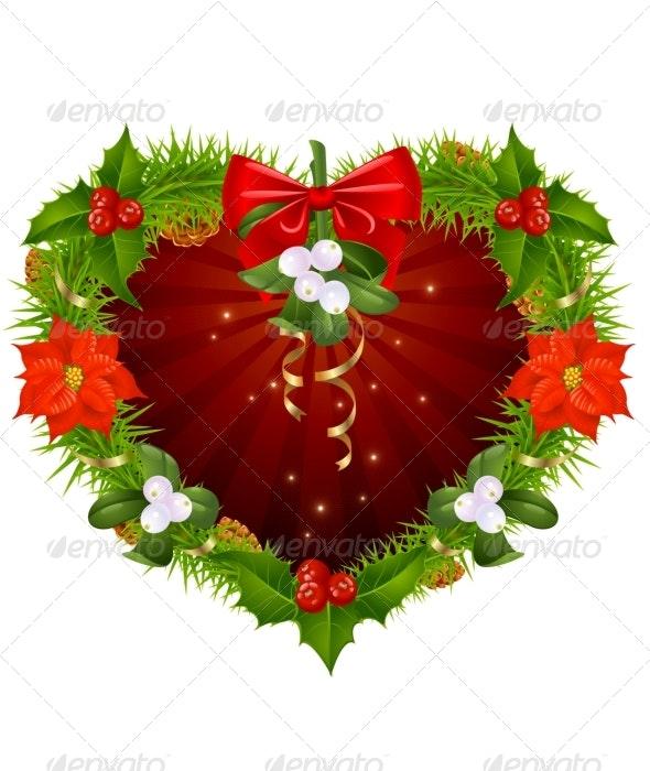 Christmas wreath in the shape of heart - Christmas Seasons/Holidays