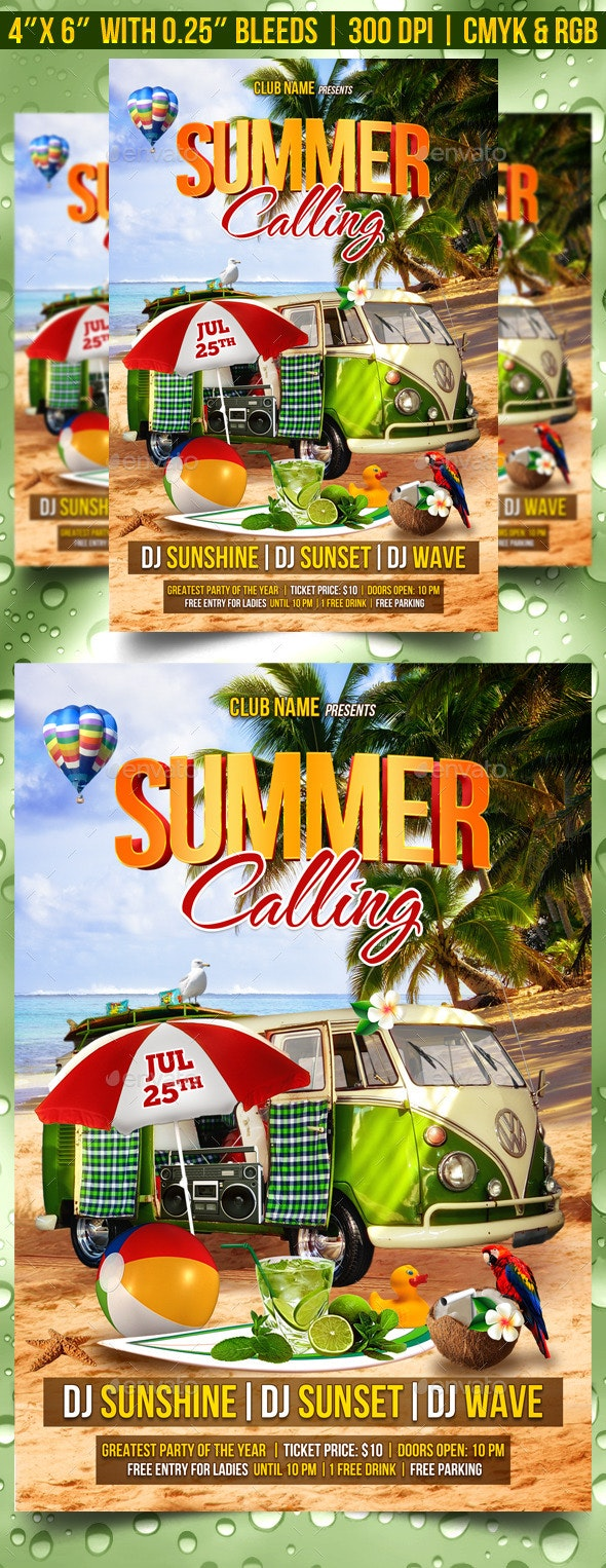 Summer Calling Flyer Template - Clubs & Parties Events