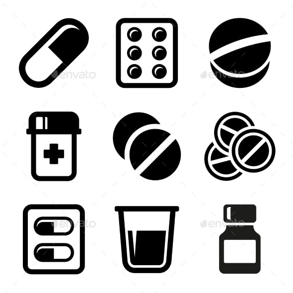 Pills and Capsules Icons Set