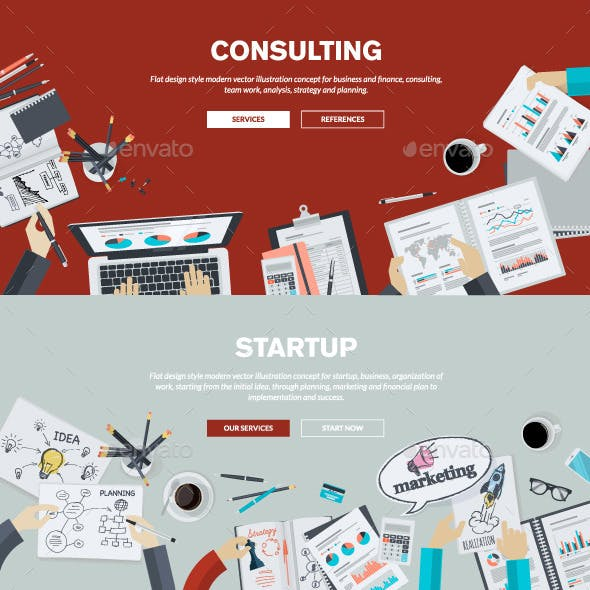 Flat Design Concepts on Business Topic